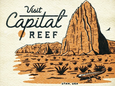 Visit Capital Reef postcard vintage old texture script rocks lizard utah national parks