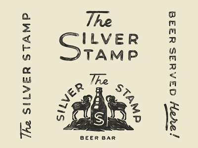 The Silver Stamp texture vintage sheep bighorn logo silver nevada beer bar branding