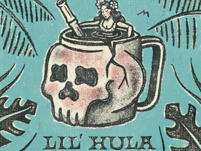 Lil' Hula Tiki Bar handlettering lettering skull procreate process hulagirl cocktail bar drinks tropical retro vintage tiki texture retrosupplyco