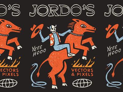 Yeee Hooo badly drawn snake fire skull global worldwide wonky cowboy western horse illustration drawing procreate