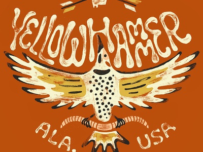 Yellowhammer State handlettering lettering alabama state yellowhammer wings woodpecker bird handdrawn illustration