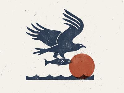 Dinner For One procreate wildlife fishing illustration texture vintage hunting minimal sun fish bird fly hawk