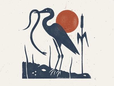 Swamp Things florida gulf alabama procreate illustration texture swamp gator allegator snake bird heron