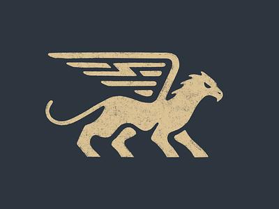 Grif mark bolt wing wings griffin branding logo illustration