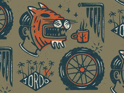 Coffee Drawing 7.22.19 tiger mask coffee tire wheel moto palm doodle drawings flash