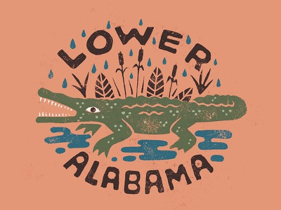 Lower Alabama southern folk alabama foliage rain badge texture simple illustration gulf coast gulf alligator gator handlettering