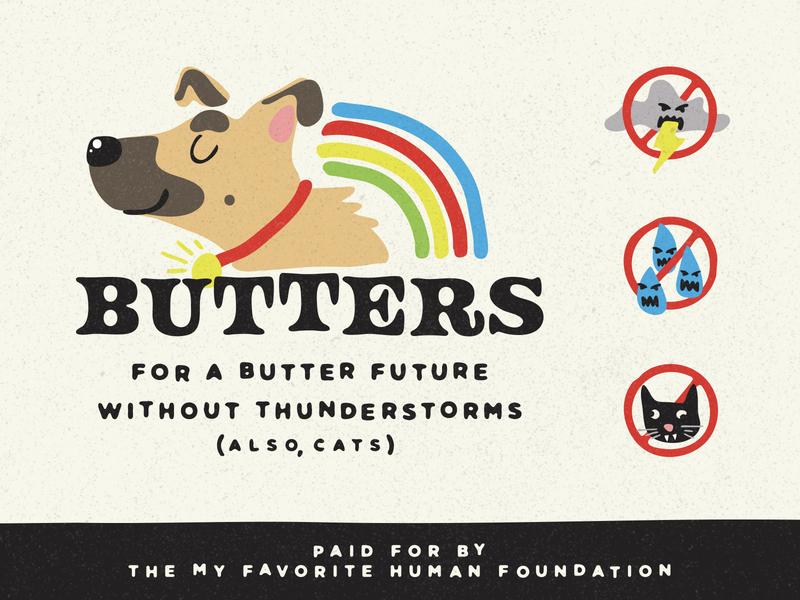 BUTTERS for AMERICA blob brush lightning thunder storms cat platform politics presidential campaign dog butter