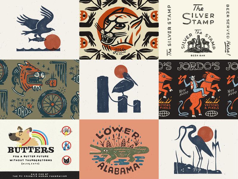 Nine Dribbbs from '19 doodles wildlife animals drawing illustration logo branding top9 19 2019