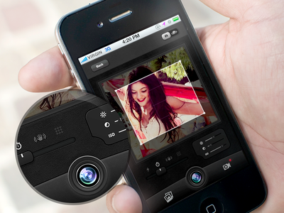 CaptureMe app ui ux interface photo camera lens iphone ios skeuomorph photograph leather