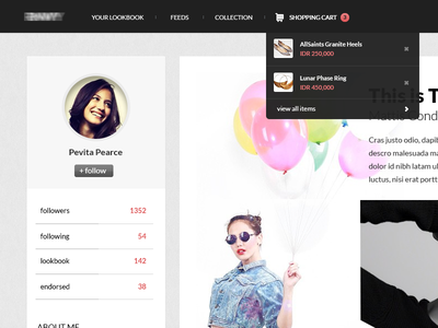 Profile notification rnwy profile lookbook fashion dropdown drop down white clean social shopping cart