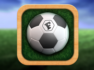 Fanster App Icon icon sport app soccer grass wood skeumorph fanster ios