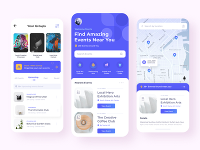 🎟️ Event mobile interface app concept minimalist clean map group icons ios mobile app user experience entertainment conference meetup ux ui ticket event
