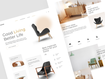 Maleo - Home Decor & Interior Web Design homepage ui chair wooden furniture ecommerce house interior home decor landing page homepage home website web design web clean ux interface ui