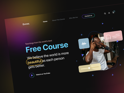 eLearning Platform Landing Page Design course app podcast streaming dark theme dark mode landingpage landing page hero e-learning learning course homepage website web design web clean ux interface ui