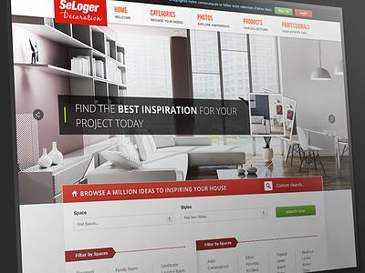 Home Decoration Site web web design interface homepage decoration web interface ui ux website red wip clean slideshow header sofa furniture search
