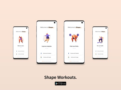 Shape Workouts - Login / Sign Up sign up ux ui minimal weightlifting gym login screen vectors google apps dailyui client management app onboarding