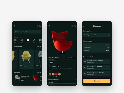 Furniture Concept app furniture dark theme ux ui concept mobile