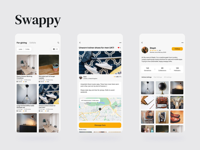 Swappy · Neighbourhood sharing concept adobe xd product redesign mobile