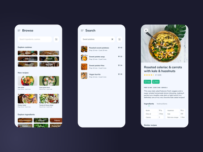Recipe Browser recipe app adobe xd ui ux mobile dailyui