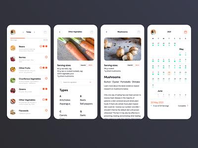 Daily Dozen tracking food app adobe xd ux ui mobile dailyui