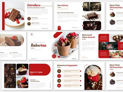 Red Brown Pitch Deck Presentation Design - Bakery Shop bakery shop presentation ppt marketing keynote google slides designs design graphic design