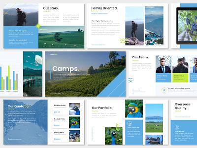 Simple Blue Pitch Deck Presentation Design - Travel Agency pitch deck template pptx presentation ppt keynote marketing google slides designs design graphic design