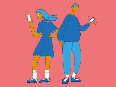 Brand New Phones school millenials youngsters vectorwork vector drawing relantionship mobile phones boygirl illustration