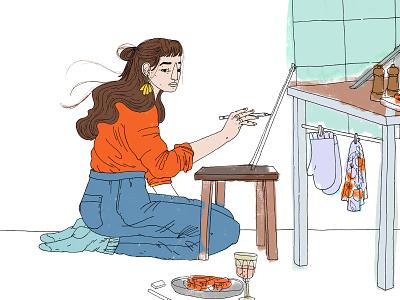 Self-portrait kitchen artwork sketch drawing selfportrait illustration