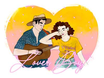 Lover Boy serenade romantic musicsong lovers procreate digitalillustration illustration