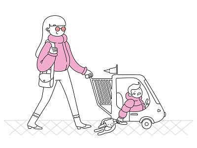 happy mum flatillustration sadkid shopping illustration