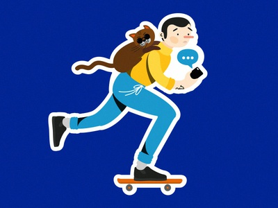 Sk8er Boi cat skater skater boy mobile tech digitalillustration artwork illustration