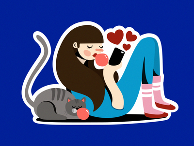 A little ball of fur digital cat girls drawing digitalillustration illustration