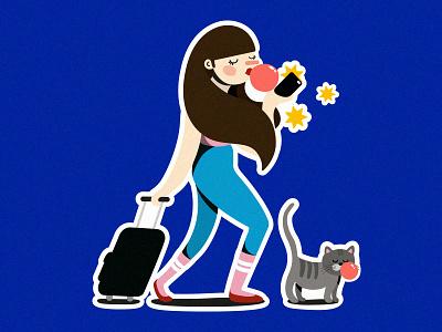 Vacation vacation holiday girls cat painting drawing artwork digitalillustration illustration