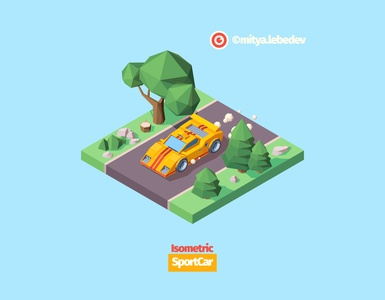 Sport Car On The Road speed tires rock concept isolated game design project product colorful road trees sportcar car adobe illustrator illustrator illustration vector isometry isometric