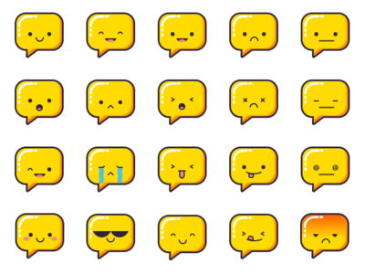 Emoji for Chat bot branding vector ux chat icon design bot mobile app illustration ui