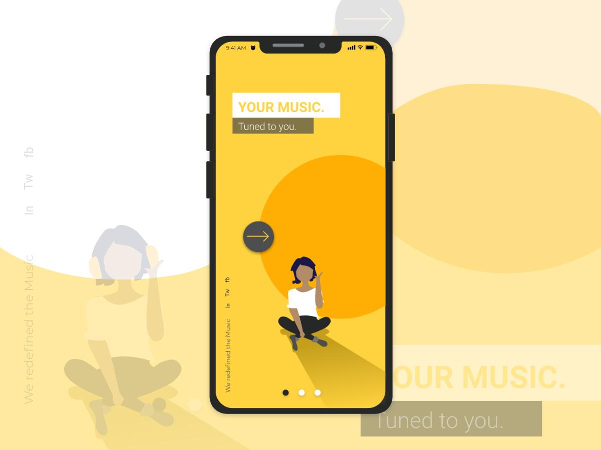 Music App music app charachter ux app minimal xd adobe xd music concept branding vector mobile ui design illustration