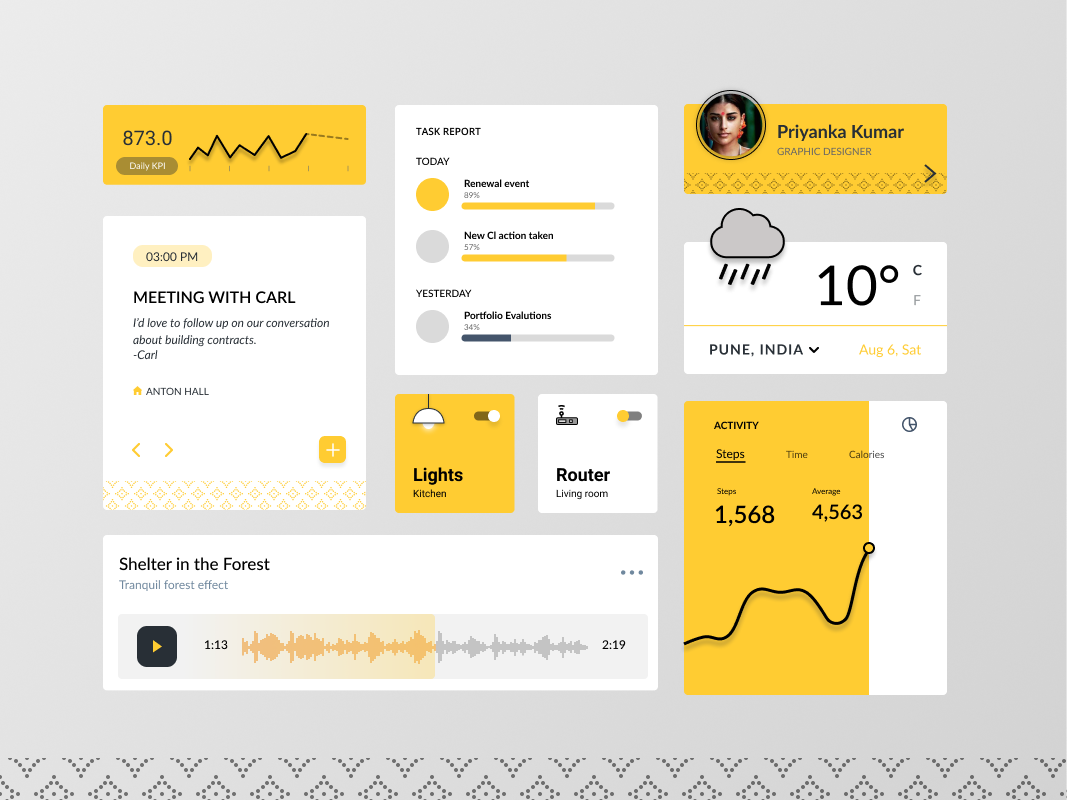 Pītaḥ mobile concept app ui kit dashboard iot smart home charts desigm ux ui illustration