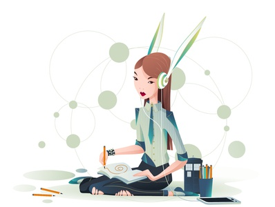 The young girl draws a maze project doctor who design tardis workplace girl woman vector loony-rabbit illustraion character design