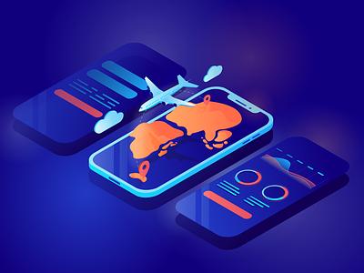 Isometric illustration for travel app vector travel plane isometry isometric chart app illustration adobe illustrator