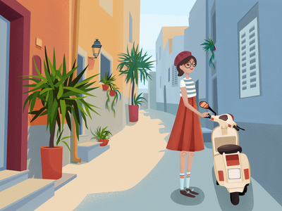Southern City street city girl person scooter noise vector illustration