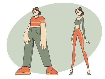 Two character styles: brutal and sophisticated style sophisticated brutal girl character person adobe illustrator vector illustration