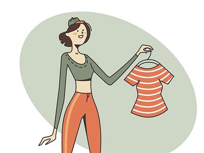 Fashionista smile wear dress clothes fashion character person girl adobe illustrator vector illustration