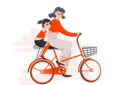 Grandma and granddaughter granddaughter grandmother person character girl illustration vector bicycle