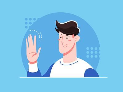 Hello everyone! hello hi man design character person adobe illustrator vector illustration