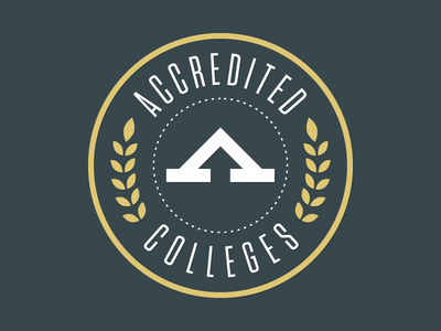 Accredited Colleges Logo tungsten logo school college university green gold laurel arrow circle