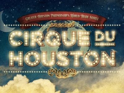 Cirque Du Houston globe vintage circus glow gotham lights neon night ribbon stars lhf signmaker retro clouds