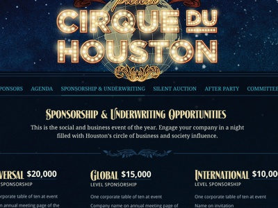 Cirque Du Houston Website globe circus glow gotham lights neon night stars signmaker lhf retro