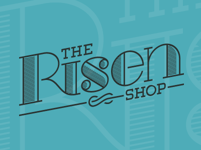 The Risen Shop Logo serif line fashion art deco deco wordmark vintage retro logo
