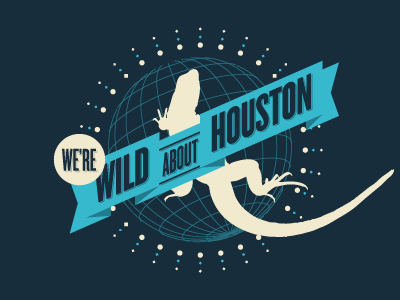 Wild About Houston theme blue ribbon globe houston