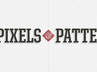 Pixels & Patterns logo patterns red united ampersand baskerville pixels website